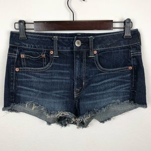 AEO Cut Off Dark Wash Denim Shorts Size 6